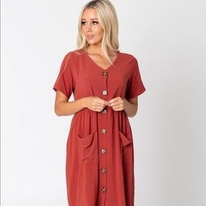 Cents of style red short sleeve button dress
